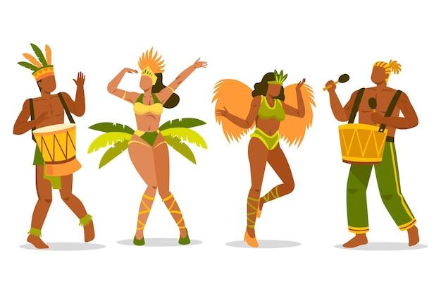 Pack de danseurs de carnaval de costumes colorés
