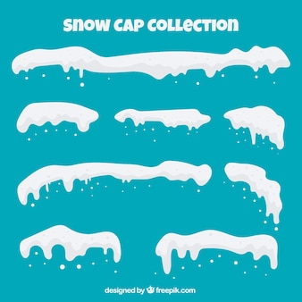 Pack de casquette de neige dans le style plat