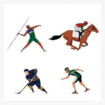 Pack de personnages de sport en design plat
