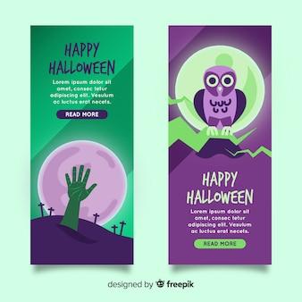 Pack de design plat de bannières halloween