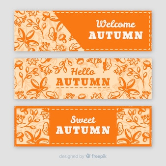 Pack de design vintage bannière automne