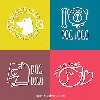 Pack dessinées à la main des logos de chiens
