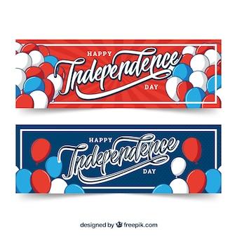 Pack dessinés à la main des bannières d'indépendance des etats-unis