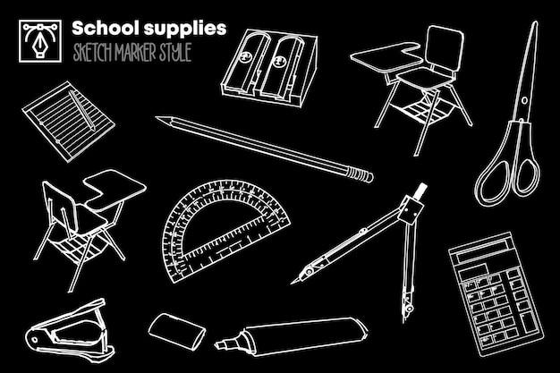 Pack de dessins isolés de fournitures scolaires