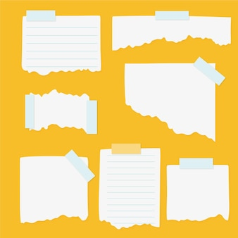 Pack de différents papiers déchirés avec du ruban adhésif