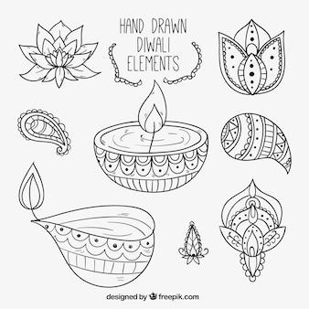 Pack diwali d'éléments dessinés à la main ethniques