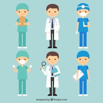 Pack de docteurs amusants et souriants