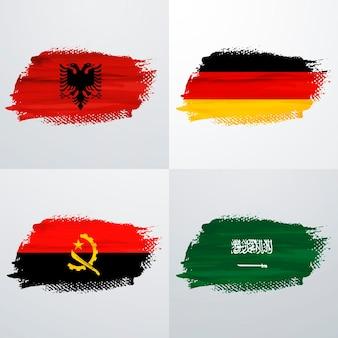 Pack de drapeaux albanie, allemagne, angola et arabie saoudite