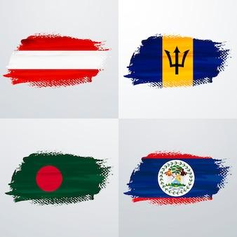 Pack de drapeaux autriche, barbade, bangladesh et belice