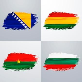 Pack de drapeaux de la bolivie, de la bosnie-herzégovine, de la bulgarie et du burkina faso