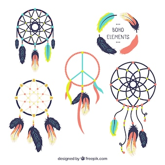 Pack de dreamcatchers fantastiques design plat