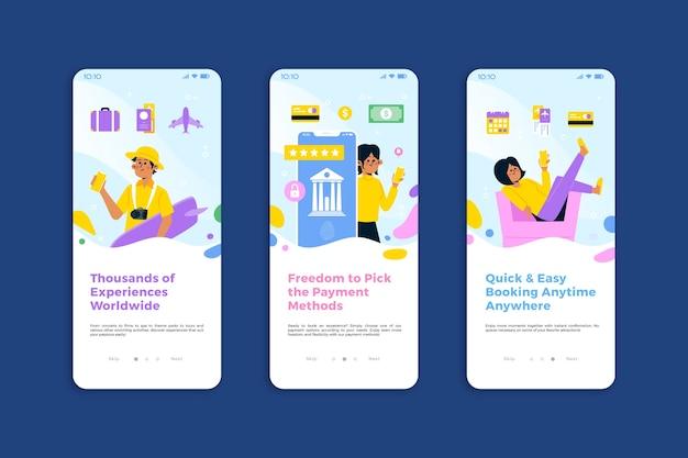 Pack d'écrans d'application d'intégration de voyage en ligne