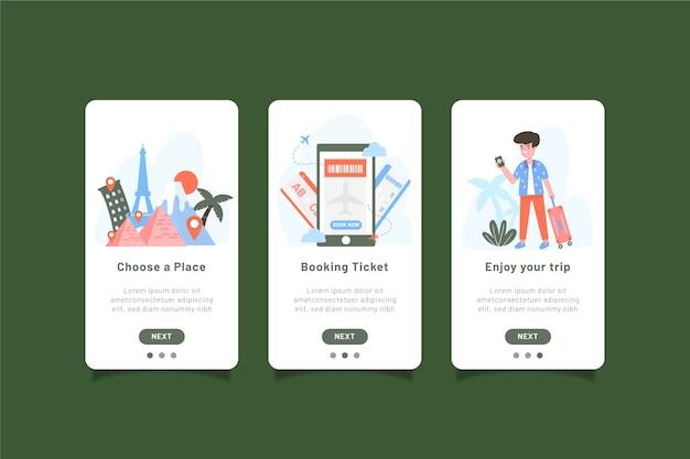Pack d'écrans d'application d'intégration de voyage
