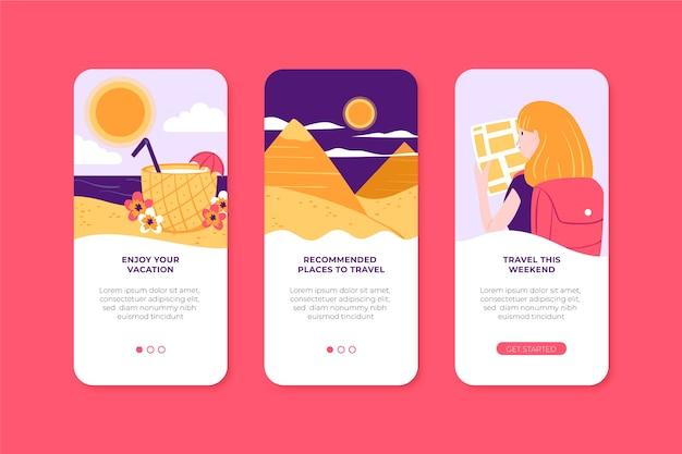 Pack d'écrans d'application pour voyager