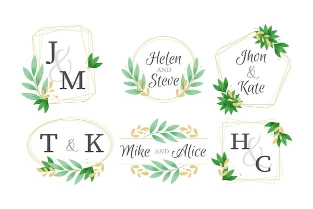 Pack élégant de monogrammes de mariage