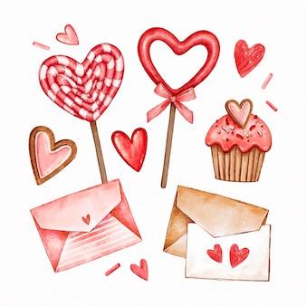 Pack d'éléments aquarelle saint valentin