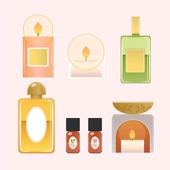 Pack d'éléments d'aromathérapie dessinés à la main