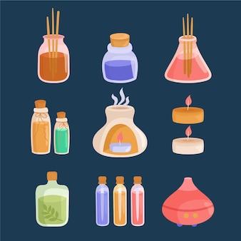 Pack d'éléments d'aromathérapie plats