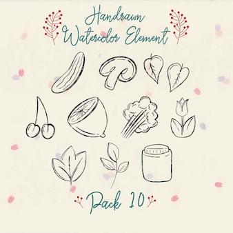Pack d'éléments d'automne aquarelle handrawn 10