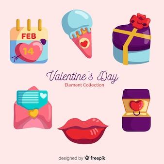 Pack d'éléments colorés valentine