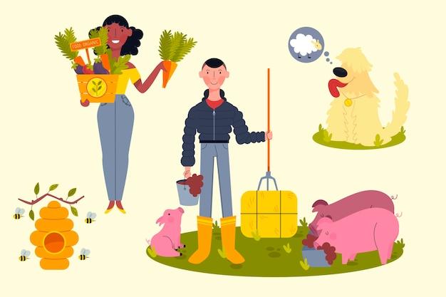 Pack d'éléments de concept d'agriculture biologique