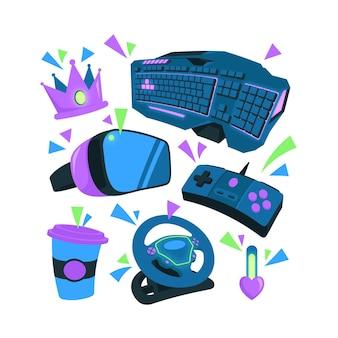 Pack d'éléments de concept de streamer de jeu plat organique