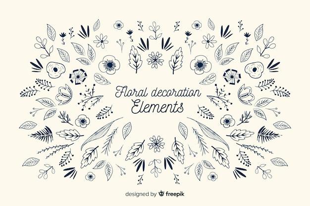Pack d'éléments décoratifs floraux dessinés à la main