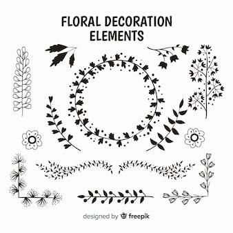 Pack d'éléments décoratifs floraux incolores
