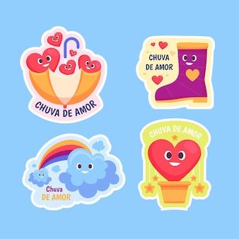 Pack d'éléments de décoration chuva de amor design plat