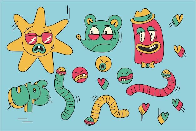 Pack d'éléments de dessin animé à la mode