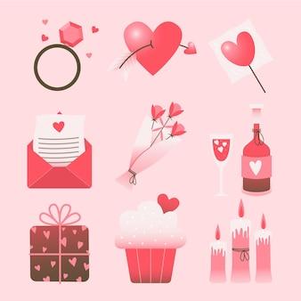 Pack d'éléments dessinés à la main de la saint-valentin