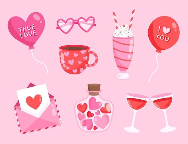 Pack d'éléments dessinés pour la saint-valentin