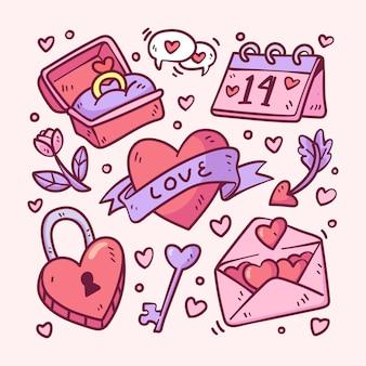Pack d'éléments doodle saint valentin