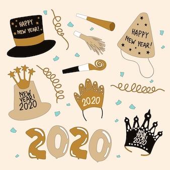 Pack d'éléments de fête du nouvel an dessinés à la main