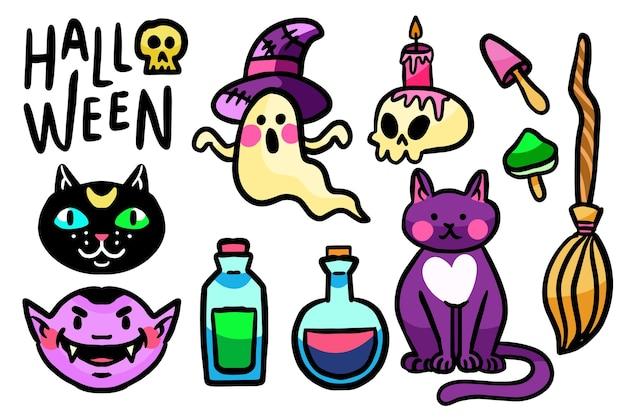 Pack d'éléments halloween design dessiné à la main