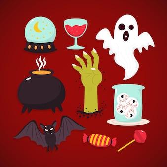 Pack d'éléments d'halloween dessinés à la main