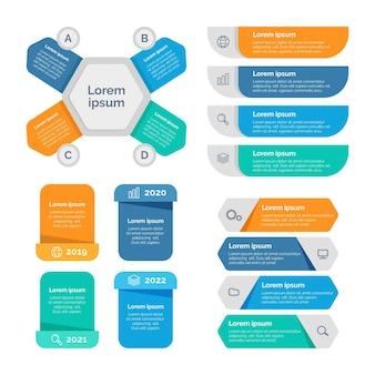 Pack d'éléments infographiques colorés plats