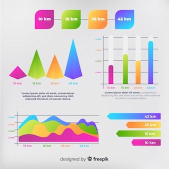 Pack d'éléments infographiques dégradés