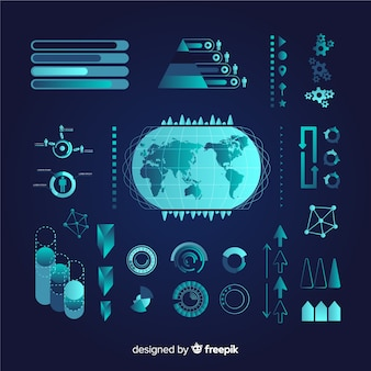 Pack d'éléments infographiques futuristes