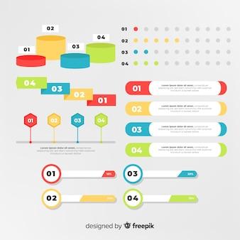 Pack d'éléments infographiques plats