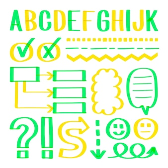 Pack d'éléments infographiques scolaires avec des marqueurs colorés