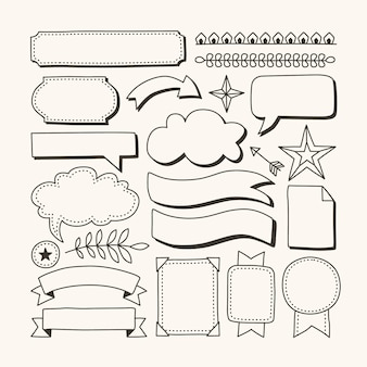 Pack d'éléments de journal de balle dessinés