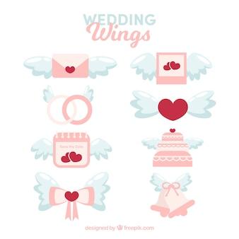 Pack des éléments de mariage avec des ailes