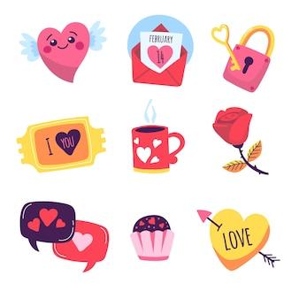 Pack d'éléments de la saint-valentin dessinés à la main