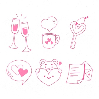 Pack d'éléments de la saint-valentin de doodle