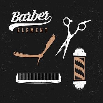 Pack d'éléments de salon de coiffure vintage, style moderne