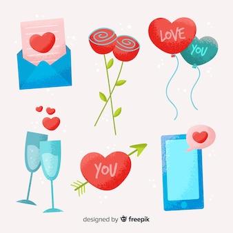 Pack d'éléments de valentine dessinés à la main