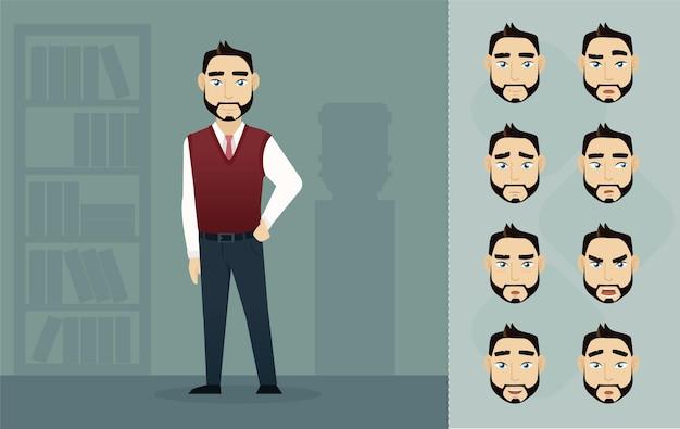 Pack d'emoji d'homme d'affaires de yong charecter de dessin animé de vecteur pour l'infographie ou l'animation