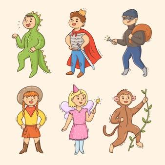 Pack enfants de carnaval de dessin animé