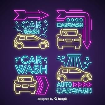 Pack enseigne de lavage de voiture au néon